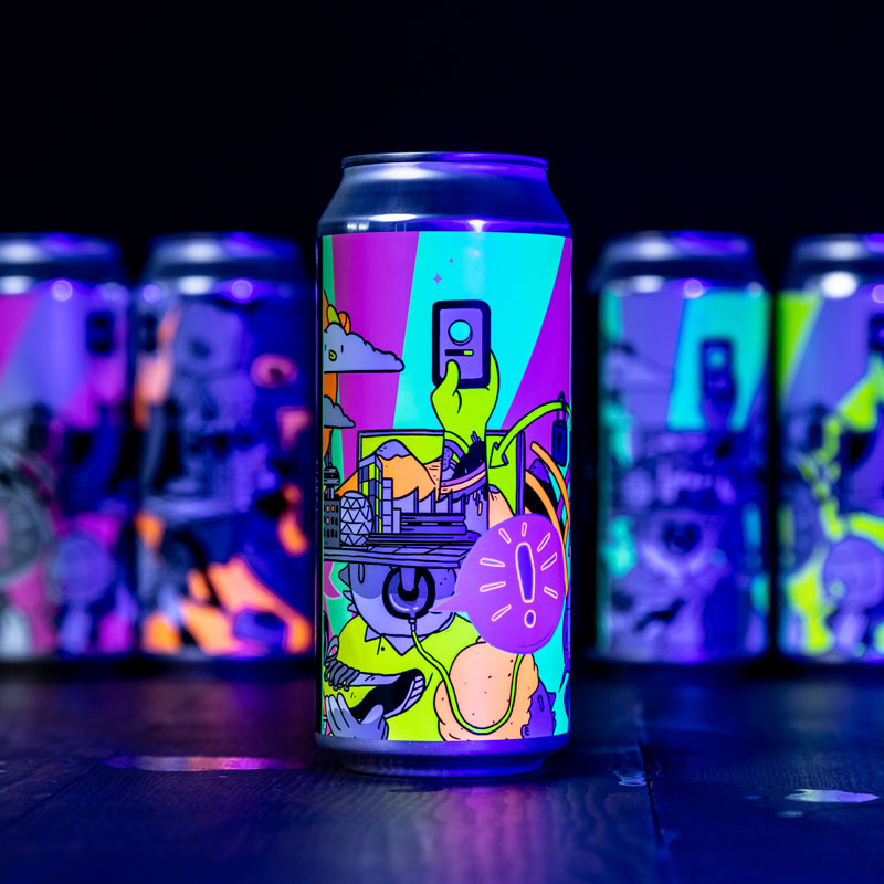 Five fluroescent cans of beer lined up on a shelf.